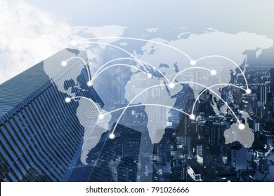 Double exposure global business on trading graph and city background. Elements of this image furnished by NASA