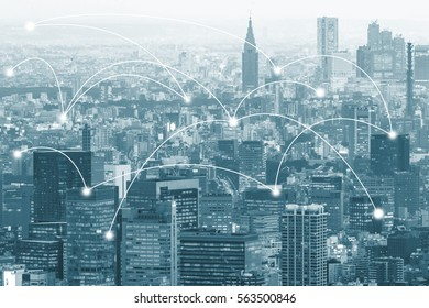 Double exposure global map on capital city and business trading background with network connection.