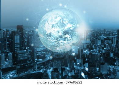 Double exposure global network on money coins and modern city background. Internet or best communication concept. Elements of this image furnished by NASA