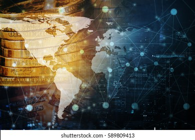 Double exposure global world map on money and business financial network city background. Elements of this image furnished by NASA