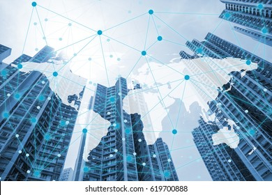 Double exposure global world map on business financial network city background. Elements of this image furnished by NASA