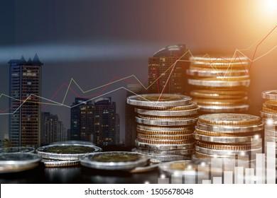 Doppeltes Engagement von Graphen und Reihen von Münzen für Finanz- und Geschäftskonzept, Finanzinvestitionskonzept, Devisenhandel candlestick Chart Economic, ECN Digital Economy, Business und Geld, Marketing.