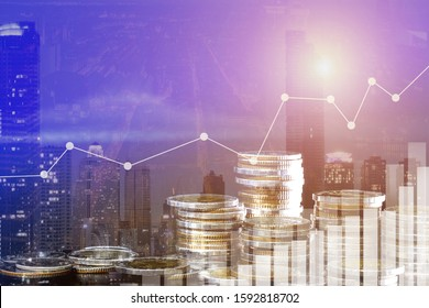 Double exposure of graph and rows of coins for finance and business concept, Stock market or forex trading and candlestick chart suitable for financial investment concept. Economy trends, SME.