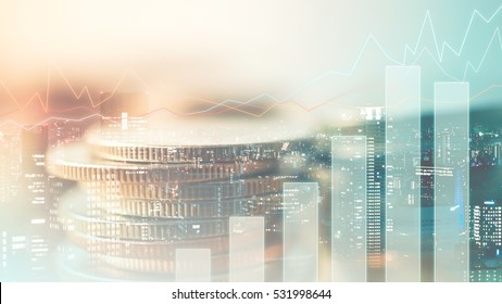 Double exposure of graph and rows of coins in soft color for finance and business concept
