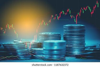 Candlestick-Diagramm geeignet für Finanzinvestitionskonzept und Devisenhandel-Diagramm mit wirtschaftlichen Trends Geschäfts- oder Finanzhintergrund.
