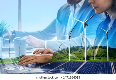 Double exposure graphic of business people working over wind turbine farm and green renewable energy worker interface. Concept of sustainability development by alternative energy. - Shutterstock ID 1471864013