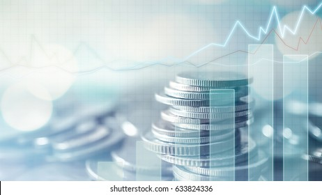 Double exposure of grid, graph and rows of coins for finance and business concept