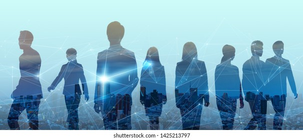 Double exposure of group of businessperson and smart city.