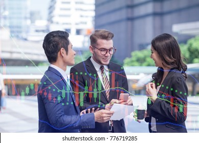 double exposure Group of multicultural people of creative use of technology with graph money stock market trading background, sharing smartphones, creating an online lifestyle.communications concept.