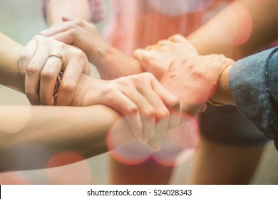 Double exposure group people hands were collaboration to trust in business success concept of teamwork partnership in company