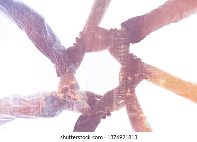 Double exposure hand of Business people with a Partnership greeting power tag team,Teamwork Join Hands Partnership Concept after complete deal,Successful Teamwork Partnership  image