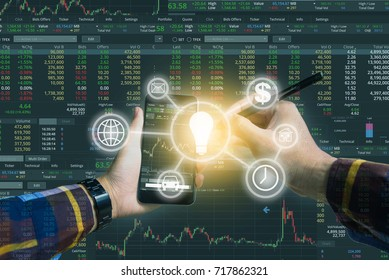 Double exposure of Hand holding smart phone checking financial stats on screen with business tools icon for trading stock concept.