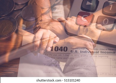 Double exposure of hands coordination and  tax form for taxation concept