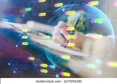 Double exposure of hands making notes background with technology and digital coding huds. Data learning concept.