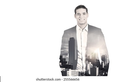 Double exposure of happy confident handsome business man in suit and high city sky line isolated on white background. Corporate employee life style concept. Black and white photography