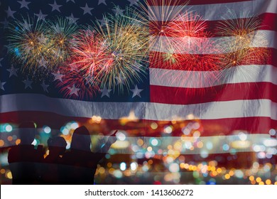 Double exposure of happy family looks celebration fireworks in the night sky with USA flag, showing on the sea beach with multi color of reflection on water