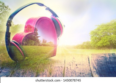 Double exposure Headphones with red  heart. love music. vintage retro