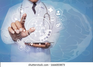 Double exposure of healthcare And Medicine concept. Doctor holding tablet and modern virtual screen interface icons.