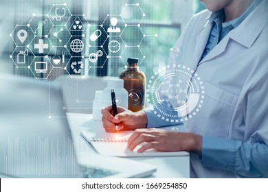 Double exposure of healthcare And Medicine concept. Doctor using modern virtual screen interface.