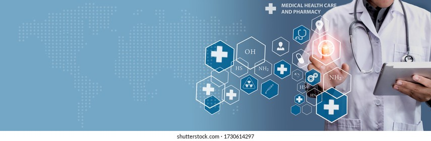 Double exposure of healthcare And Medicine concept. Doctor and modern virtual screen interface.