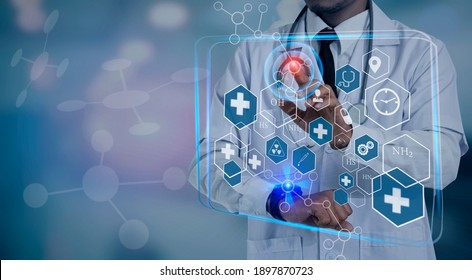Double exposure of healthcare And Medicine concept. Doctor hands touching on modern virtual screen interface icons, blurred background.