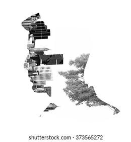 Double exposure illustration, man silhouette with city and tree.