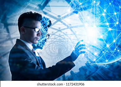 The double exposure image of the businessman standing overlay with the CPU installing image and cityscape is backdrop. the concept of AI, electronics, intelligence, technology and internet of things.