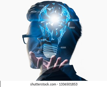 The double exposure image of the businessman thinking overlay with futuristic illumination lamp. the concept of imagination, technology, future and inspiration.
