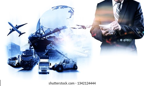 The double exposure image of the businessman using a smartphone during sunrise overlay with Logistics and transportation of Container Cargo ship and Cargo plane