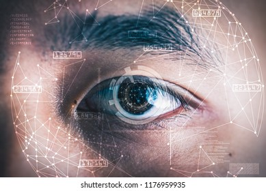 The double exposure image of the businessman's eye overlay with futuristic hologram. The concept of modern life, futuristic, technology, iris scanner and internet of things.