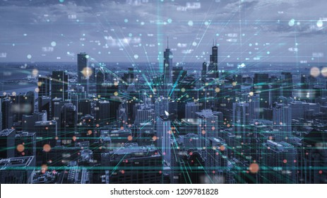 the double exposure image of digital line and chicago city Aerial view,Business and technology Background