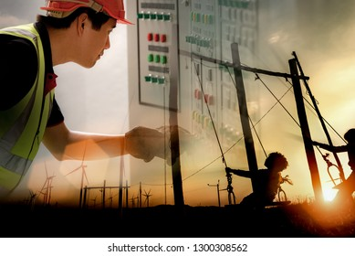 Double Exposure Image of Electrical Power Engineering with Silhouettes of happiness life of child to playing swing in turbine wind park renewable. Sustainable energy concept. Cinematic Warm Color.