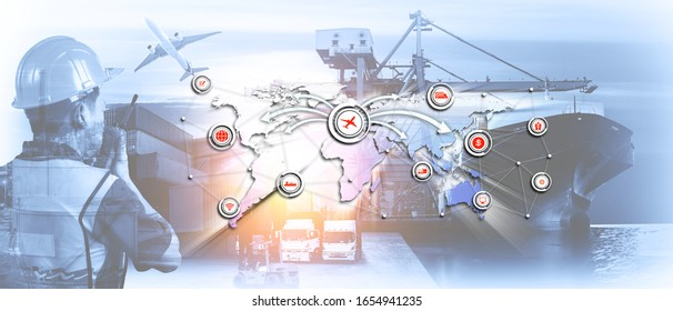 Double exposure image of the engineer overlay with logistic network distribution on background, Industrial Container Cargo freight ship for Concept of fast or instant shipping, Online goods orders