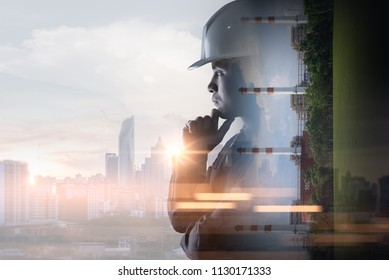 double exposure image of the engineer thinking during sunrise overlay with power plant image. the concept of clean energy, futuristic, industrial4.0 and internet of things.