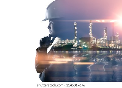 the double exposure image of the engineer thinking overlay with oil refinery image.The concept of energy, engineering, construction and industrial.
