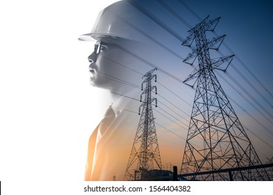 the double exposure image of the engineer thinking overlay with the high voltage pole image.