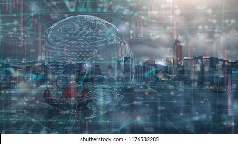 the double exposure image of financial, economy and invesment grap and digital global earth and the Hong kong cityscape,business and tehcnology background