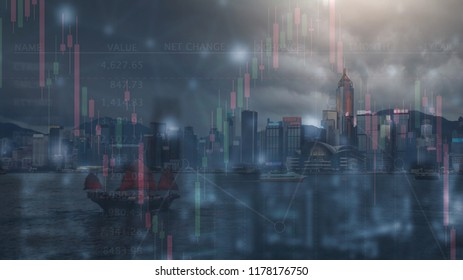 the double exposure image of financial, economy and invesment grap and digital and the Hong kong cityscape,business and tehcnology background