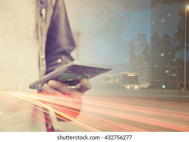 Double exposure image of People using mobile smart phone Communication worldwide. Phone Concept and Technology.