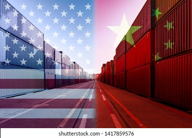Double exposure image of United States of America and China trade war tariffs as two opposing container cargo in port as an economic taxation dispute over import and exports concept