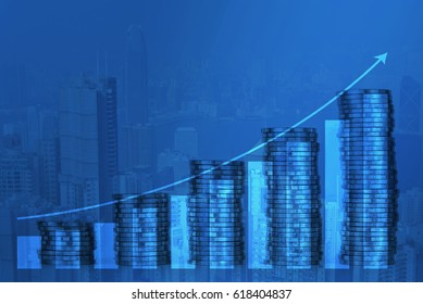 Double exposure of increasing columns of coins, piles of coins arranged as a graph with coins currency and calculator background with financial graph chart, business banking and saving idea.