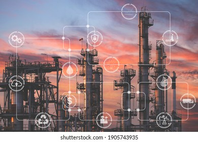 Double exposure of Industrial manufacturing and transportation field icons with Oil and gas industry plant background. Concept of variety industry technology and the economy grows