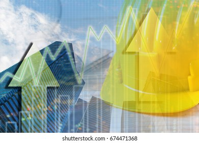 Double exposure industrial safety helmet on rising economy graph background. GDP and investment concept