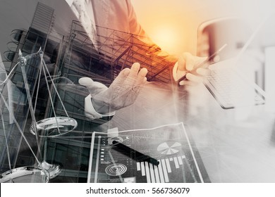 double exposure of justice and law concept.Male lawyer in office with the gavel,working with smart phone,digital tablet computer docking keyboard,brass scale,on wood table,London architecture city