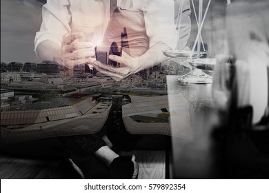 Double exposure of Justice and Law context.Male lawyer hand sitting on sofa and working with smart phone,digital tablet computer  with scale on living table at home,London architecture city