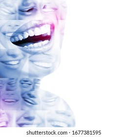 Double exposure of laughing people with great teeth and smiling blured faces. Healthy beautiful smiles. Teeth health, whitening, prosthetics and care. Positive expressions