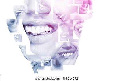 Dupla exposição de pessoas rindo com grandes dentes e closeup do rosto feminino. Sorrisos femininos bonitos e saudáveis. Saúde dos dentes, clareamento, próteses e cuidados.