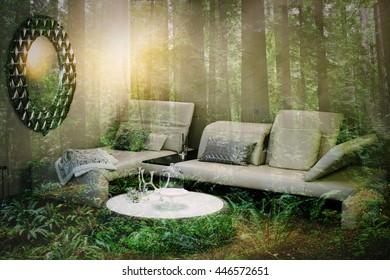 double exposure of living room with mirror and green forest