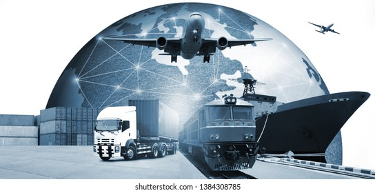 Double exposure of  logistic network distribution on background and Logistics Industrial Container Cargo freight ship for Concept of fast or instant shipping