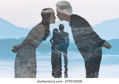 double exposure of loving couple on landscape background, valentine concept